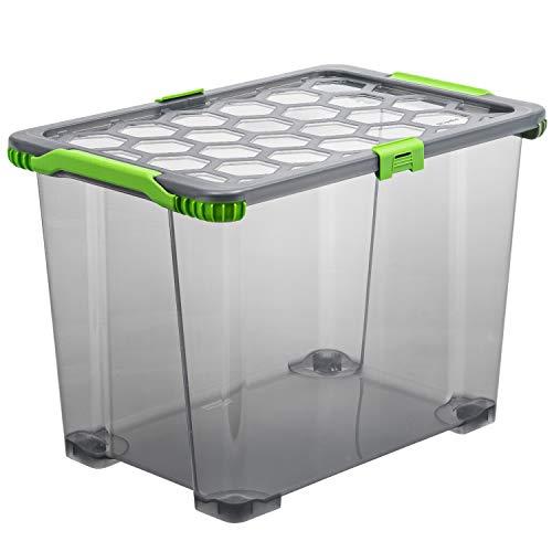 Rotho EVO-Total Protection mit verschließbarem Aufbewahrungsbox mit Rollen und Deckel, Polypropylen, Anthrazit, 65 Liter