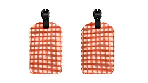 Orange Plaid-taste (PU Leather Luggage Tags with Orange and White Plaid Print Name ID Labels for Travel Bag Baggage Suitcase with Back Privacy Cover 2 Pack)