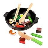 BSPAS 19 Stücke Holz Lebensmittel Schneiden Spielzeug Kinderküche, Gemüse Fleisch Geschirr Topf Set für Kinder Rollenspiele