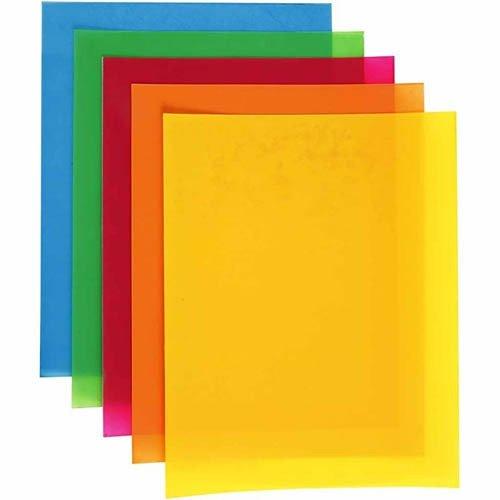 Creativ Company 790840 Einziehbare Kunststoffblätter (blau, grün, orange, rot, gelb, 20 cm, 30 cm, 10 Blatt)