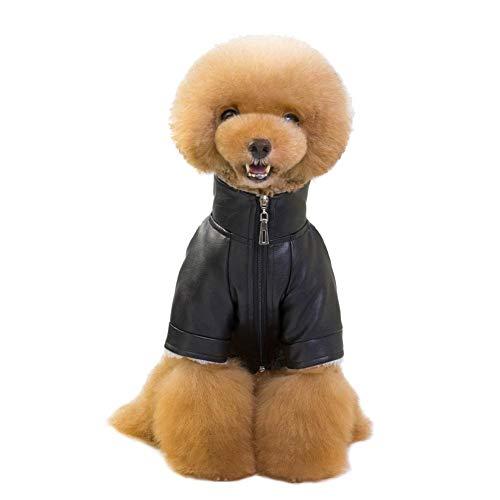 Following Hunde-Jumpsuit aus Leder mit SAMT, dick, warm, für Kleine und mittelgroße Hunde und Katzen, Größe S, M, L, XL, 2XL