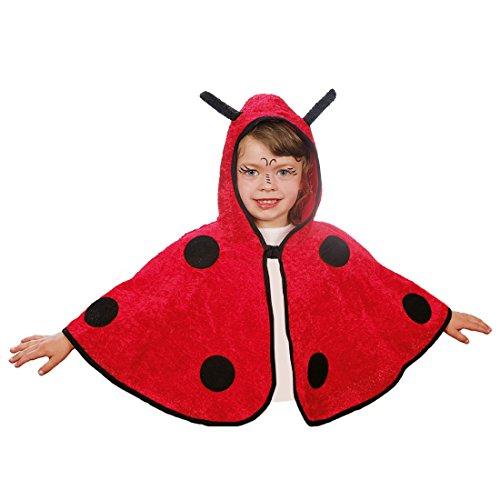 Amakando Kinder Marienkäferkostüm Käferkostüm Poncho Cape 104 cm 3-5 Jahre Käfer Kinderkostüm Marienkäfer Kostüm Karnevalskostüme Tiere Süßes Regencape Faschingskostüm Karneval Kapuzenumhang Tier (Marienkäfer Cape Kostüme)