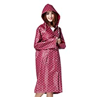 Women's Raincoat Long Sleeves With Hood EVA Polka Dot Waterproof Rain Jacket Long Hooded Rainwear Ladies Showerproof Mac With Pouch for Women, L, Red