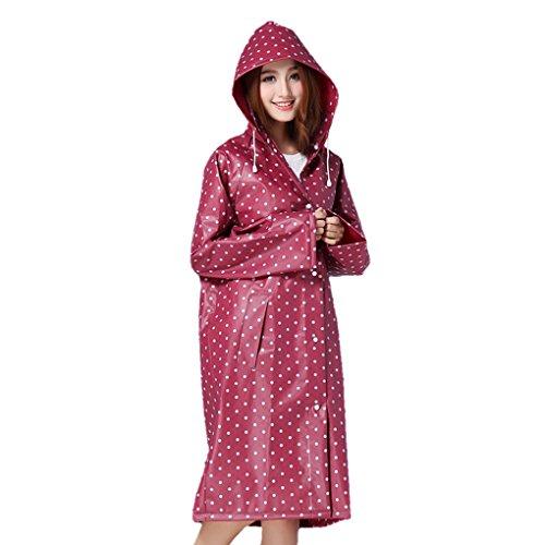 FakeFace Regenmantel Punkte EVA Regenjacke für Kinder Schüler Jungen Mädchen Wasserdichte Trenchcoat Wasserdicht Parka Regenkleidung Raincoat Regencape, dunkelrot