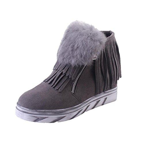 cinnamou Frauen-beiläufige Schnee-Aufladungen - imprägniern Sie im Freien flache Aufladungs-Schuhe - Winter-Herbst-warme Pelz-Franse-Stiefel Ankle Zip Boots (34, Grau) (Flach Leder Gesteppte Ballett)