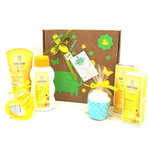 Idea Regalo per Nascita con 4 prodotti Weleda + 1 cucpake con pannolino + 1 Massaggiagengive Refrigerante | Baby Shower Gift Idea | Versione Unisex, ideale per femminucce e maschietti!