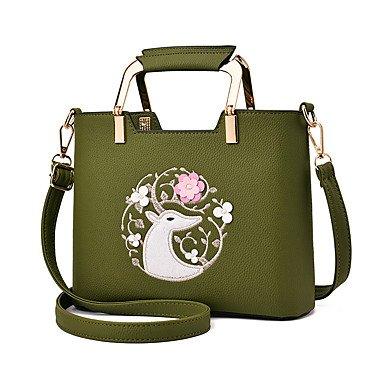 Damenmode bestickt PU Leder Messenger Umhängetaschen Handtaschen/Klt Green