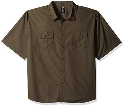 Dickies Herren Relaxed Fit Ripstop Short Sleeve Shirt Big Button Down Hemd, moos, 3X