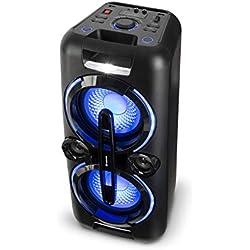auna Bazzter Système Audio de soirée • 2 subwoofer de 20,3 cm (2 x 8 ) • Enceinte Bluetooth • 100W RMS • Batterie • USB • MP3 • AUX • FM • Micro • Noir