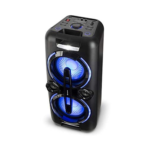 auna Bazzter, Party Audiosystem, mobiler Bluetooth Lautsprecher, 2 x 8\'\' Subwoofer, 100 Watt RMS, Akku, USB-Port, MP3, AUX, UKW, LED-Lichteffekt, LCD-Display, Mikrofon, schwarz