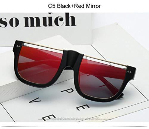 Cranky Orange quadratische Sonnenbrille Damen Übergroße halbrandlose Sonnenbrille Damen Herren Silberne Spiegelbrille für Damen Sonnenschutz 2019, C5 Schwarz Rot