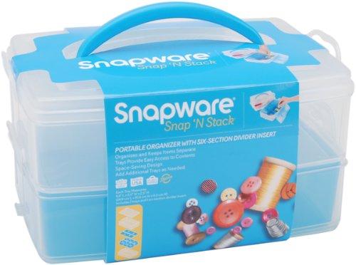 Snapware Snap and Stack Aufbewahrungsbehälter aus Kunststoff 15,2x22,9cm, 2-Etagen, rechteckig, mit 6 Innenfächern, transparent (Snap-lock-kunststoff-behälter)
