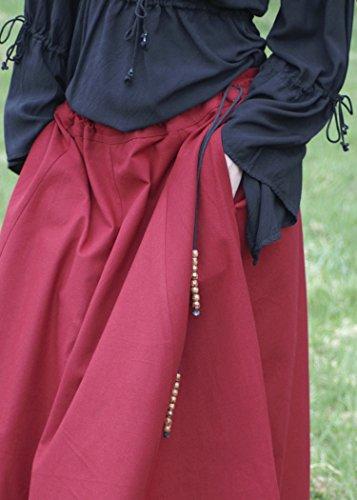Mittelalterlicher Rock, weit ausgestellt, rot aus Baumwolle Größe S - 3