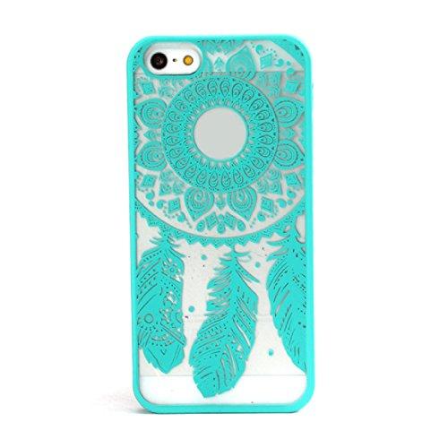 Sannysis für iPhone 5 5S;Geschnitzte Weinlese-Traumfänger Campanula Hard Case (rosa) Blau