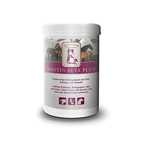 Mühldorfer Biotin Beta Plus, 750 g, unterstützt Huf und Haut, kräftigt den Kronsaum, verbessert das Hufwachstum, Ergänzungsfutter für Pferde und Ponys