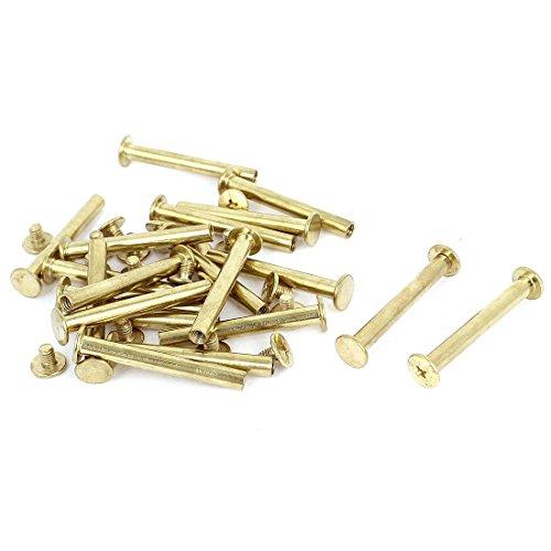 Scrapbook Leder 5 x 40 mm Messing vergoldet Bindung Chicago Schraube Post 20 Stück
