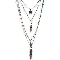 Lureme® de múltiples capas de la cadena cabeza redonda collar de plumas de metal retrato colgante de la vendimia(01003379-2)plata antigua