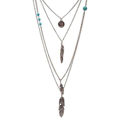 Lureme® chaîne couches tête ronde collier plumes portrait métalliques de Pendentif multi vintage (01003379-2)argent antique - Piuma E Collana