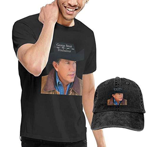 Thimd Herren T-Shirt und Kappe Schwarz, George Strait Troubadour T-Shirts Washed Denim Baseball Dad Hat Black -