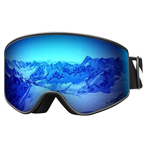 VELAZZIO OTG Skibrille, Snowboard-Brille - Austauschbare Zweischichtlinse, Beschlagfreie Schneebrillen für Herren und Damen (Schwarzer Rahmen/Graue Linse mit Blauer REVO-Beschichtung (VLT 17%))