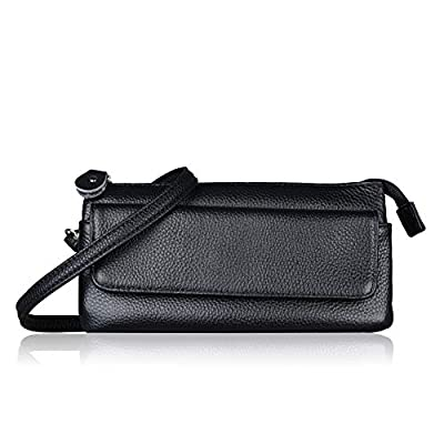Befen Women's Soft-Feel Genuine Leather Smartphone Leather Wristlet Crossbody Wallet Clutch