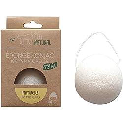 Eponge konjac visage 100% naturelle de qualité supérieur - FEELNATURAL - exfoliation naturelle et le nettoyage profond des pores (pour 4 types de peau différentes) (NATUREL - tous types de peaux)