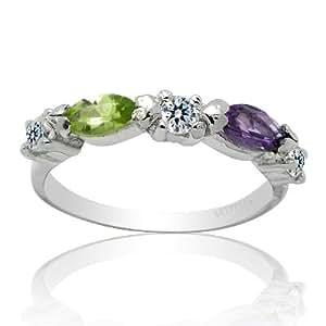 100% Genuine Nature Amethyst Peridot CZ Diamonds 925 Sterling Silver 18K 18CT White Gold Plating Ring Jem Fine Jewellery-SizeP