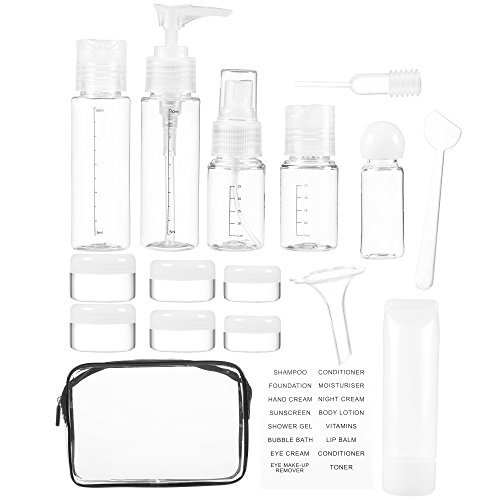 Juvale 16 Pack Transparent Travel Liquid Container Accessories Bottles for Makeup, Cosmetics, Aromatherapy Oils, Toiletries, with Transparent Travel Bag