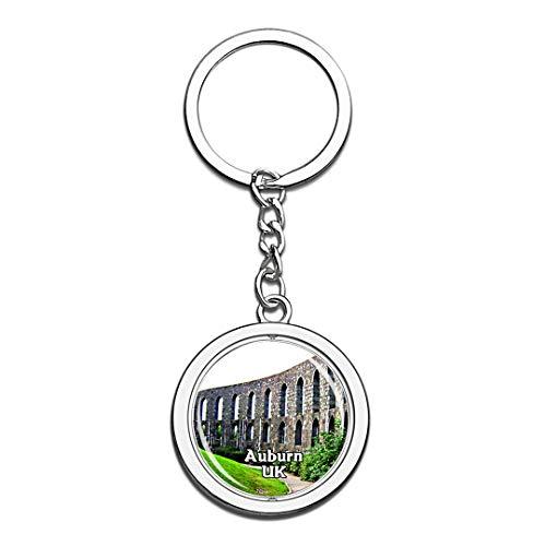 Auburn McCaigs Turm UK England Schlüsselbund 3D Kristall Kreative Spinning Runde Edelstahl Schlüsselbund Travel City Souvenir Collection Schlüsselanhänger Ring