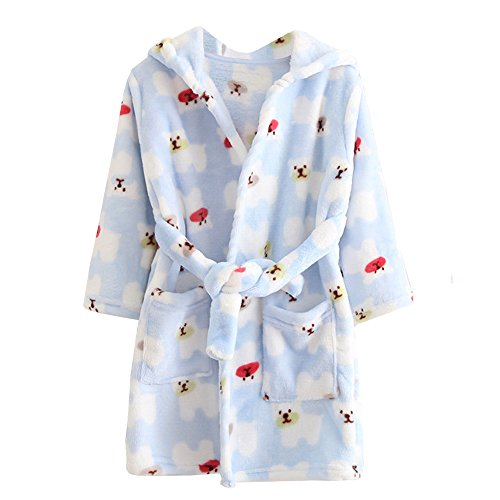 Mädchen Jungen Kapuzen-Bademantel Weiche Coral-Fleece-Schlafanzug Morgenmantel Nachtwäsche Pajamas Größe 110 Blau (Kostüme Für Kleinkinder Zu Halloween)