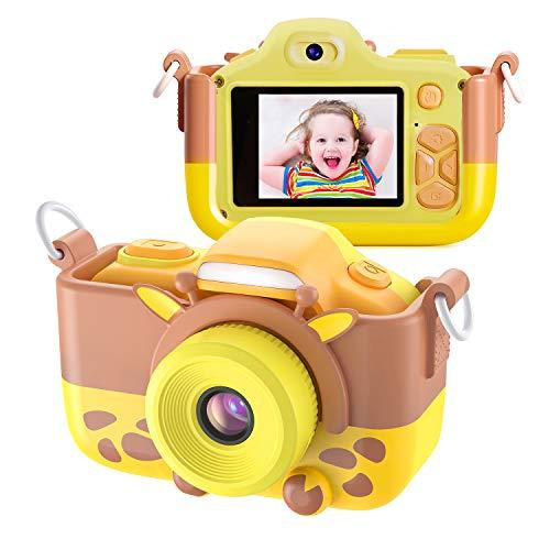 Kriogor Appareil Photo pour Enfants, Caméscope Selfie pour Appareil Photo Numérique pour Petites Filles, 2 Pouces LCD / 1080P HD / 12MP / 256M TF Carte (Jaune)
