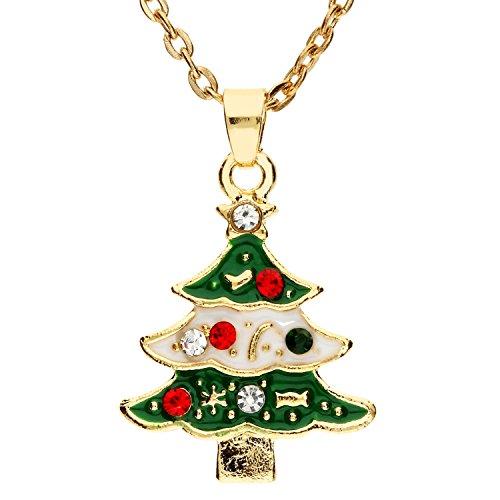 en Weihnachts Kette Halskette Weihnachtsbaum Christbaumkugel Anhänger mit Stern Grün Gold Rot Weiß MYA-MODKET-1 (Niedliche Schwester Kostüme)