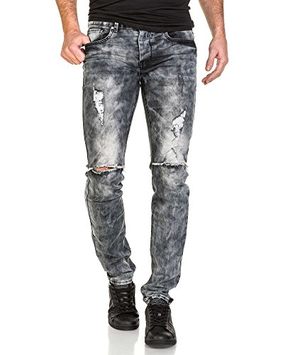 Sixth June - Jeans gris destroy délavé homme Gris