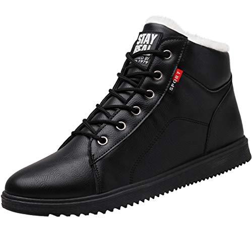 Juqilu Hommes Hiver Neige Bottes Chaud PU Cuir Sneaker Confortable Bottes Imperméables Entièrement en Fourrure Doublé À Lacets Bottines Bottines Anti Slip Chaussures Légères EU38-44