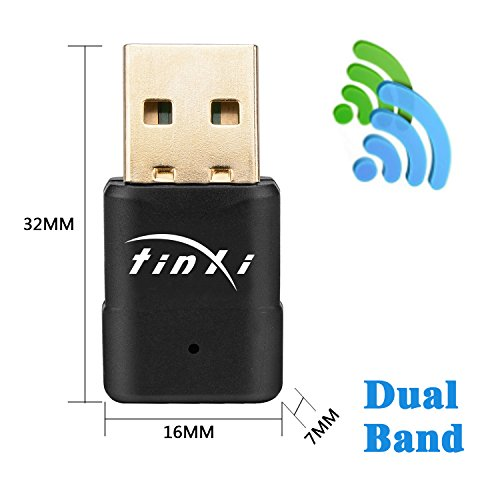 tinxi® WiFi Dual Band USB Adapter AC 5G 600Mbps, Network Adapter WiFi Dongle 2.4GHz 150Mbps or 5GHz 433mbps , Compatible WithWindows 2000/XP/Vista/7/8/10