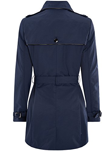 oodji Collection Damen Einreihiger Trenchcoat mit Kunstlederbesatz Blau (7900N)
