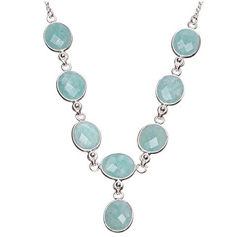 stargems (TM) natur blau Aquamarin handgefertigt Boho 925Sterling Silber Y-Halskette 45,7cm