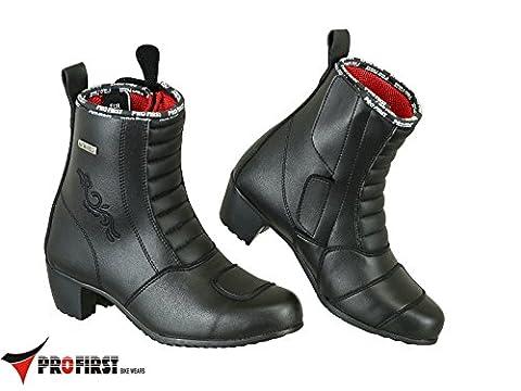Pro First Genuine Leather Ladies High Heel Motorbike Boots Anti Slip Rubber Soul Motorcycle Waterproof Cruiser Boot Shoes Racing Sports | Full Black, UK 3 / EU 37