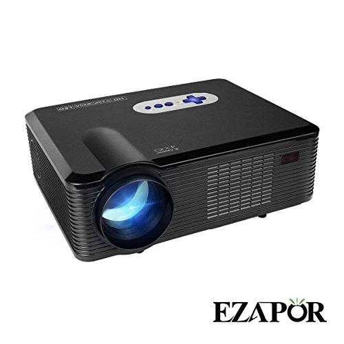 HD Vidéoprojecteur, ezapor Projecteur portatif 3000lumens Home Projection HD Multimédia Projecteur LED Projecteur avec 2HDMI 2USB VGA TV/DTV entrée YPbPr pour Home cinéma théâtre Tablette Vidéo Film Bussiness