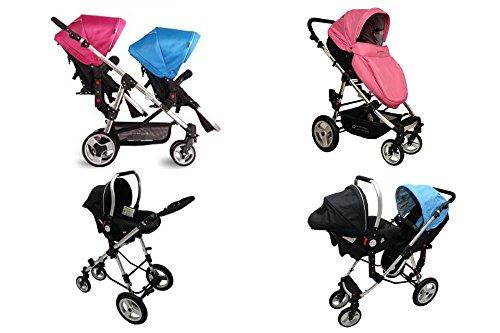 BabyFiveStar *BabyFiveStar GESCHWISTERWAGEN ZWILLINGSWAGEN KINDERWAGEN BUGGY BLUE-PINK/BLACK GEMISCHT NEU OVP
