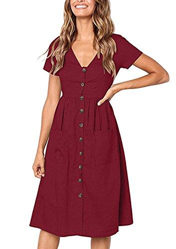 Lantch Sommerkleider Damen Kurzarm V-Ausschnitt Strand Kleider Elegant Vintage Abendkleid Knielang (Weinrot, S)