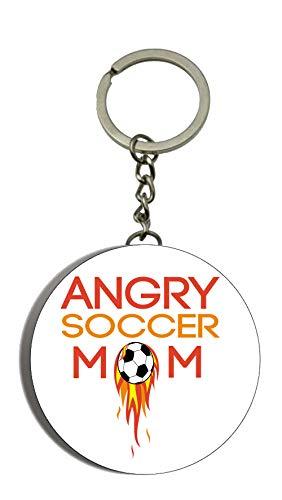 Gifts & Gadgets Co. Angry Soccer Mama Flaschenöffner Schlüsselring 58mm rund (Alter Mann Kostüm Fußball)