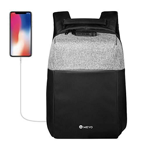 weyo 15.6 Pollici Zaino Antifurto Laptop con Porta USB, Zaino per PC Portatile,Zaino universitá Unisex Adulto per Affari, Viaggi, Scuola