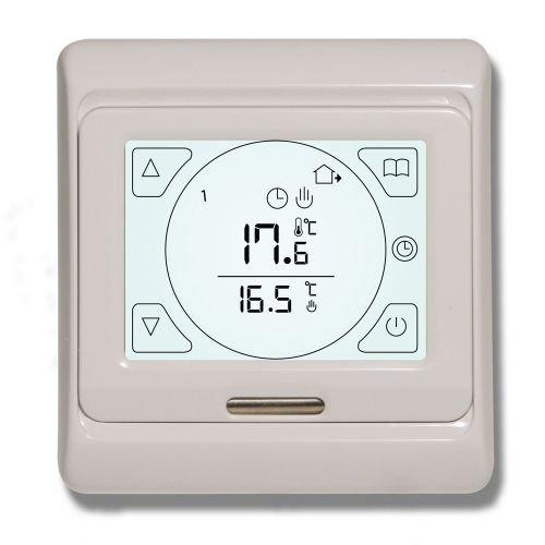 Thermostat für Fußbodenheizung mit Touchscreen Geeignet für nahezu alle elektrischen Fußbodenheizungs-Systeme. 16 A. Inklusive Sensoren für Boden- und Lufttemperatur. -