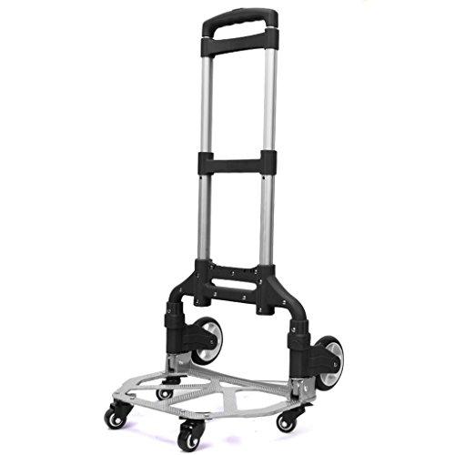 FXJ Zusammenklappbarer tragbarer Aluminiumlegierungslaufkatze des Einkaufsgepäcks kann Gewicht 75kg widerstehen (Farbe : SCHWARZ)