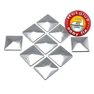 100 Stück Hotfix Metall-Nieten Quadrat Silber (ca. 7 mm), Nailheads zum Aufbügeln