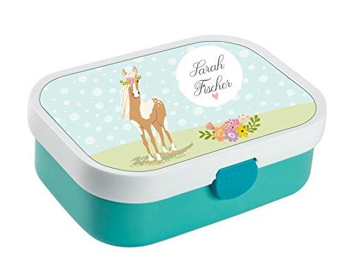 wolga-kreativ Brotdose Lunchbox Kinder Pferd Pony Mädchen mit Namen Mepal Brotbox Obsteinsatz Bento für Kinder personalisiert