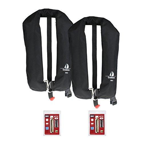 12Seemeilen 2er-Set Automatik-Rettungsweste 165N mit Lifebelt, schwarz inkl. 2 Wartungskits
