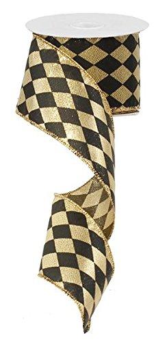 6,3cm X 10Meter GOLD LAME Harlequin Fleur de Lis Band mit Draht: Schwarz & Gold: rg01471rf -