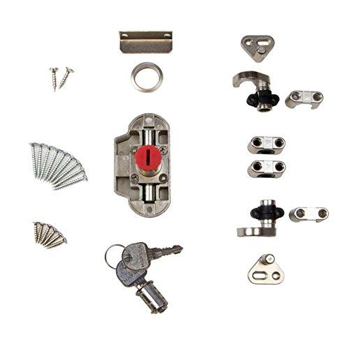 Gedotec Zylinder-Drehstangenschloss Möbel-Aufschraubschloss Kleider-Schrank | Möbelschloss Anschlag LINKS | Zylinderschloss Dornmaß 25 mm | Stahl vernickelt | 1 Set - Schrank-Schloss für Schranktüren